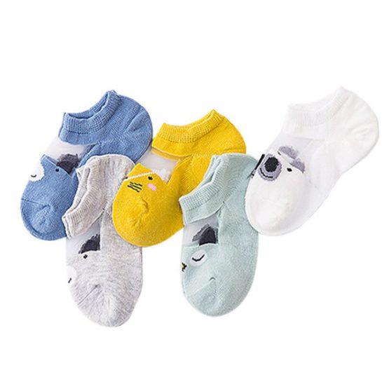 Kit 5 meias infantis curta transparência bichinhos